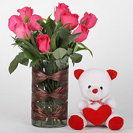 Pink Rose Vase & Teddy Bear Combo: Soft Toys Gifts