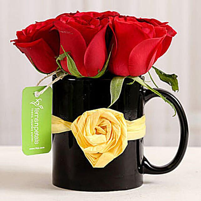 Black Mug of Red Roses: Flowers for Birthday