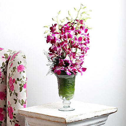 Purple Orchids Vase Arrangement: Gifts To Govindpur