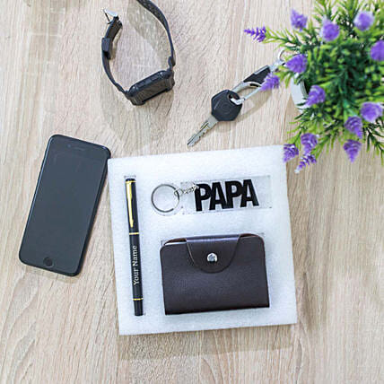 Cardholder, Personalised Pen & Keychain Set For Papa: