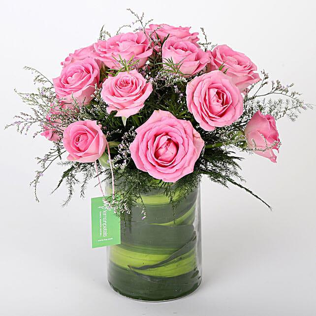 Pink Roses Vase Arrangement:
