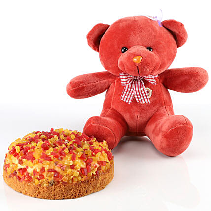 Dry Cake & Red Teddy Bear Combo: Soft Toys Gifts