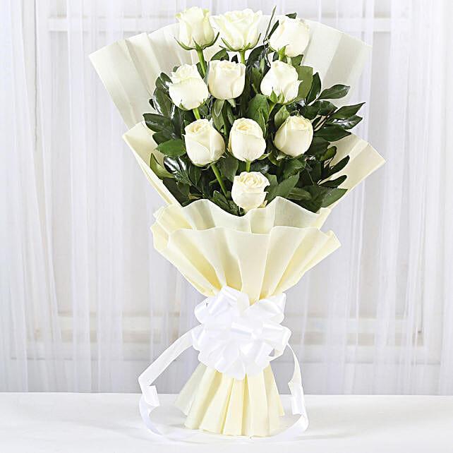 Pristine White Roses Bunch: Roses