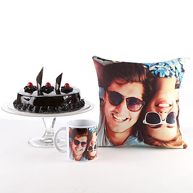 Photo Cushion, Mug & Cake Combo: Personalised Gifts Combos