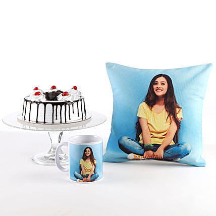 Photo Cushion, Mug & Black Forest Cake Combo: