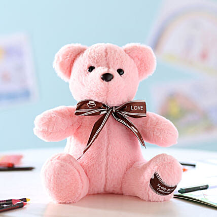 Teddy Bear With Bow- Pink: Send Soft Toys