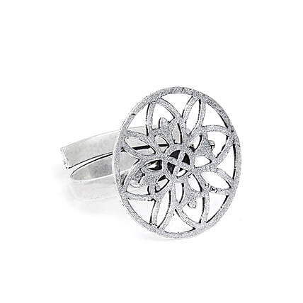 Adjustable Oxidized Silver Floral Ring: Rings