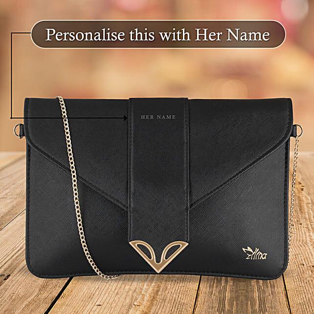 Fashionable Black Sling Bag: Anniversary Personalised Gifts