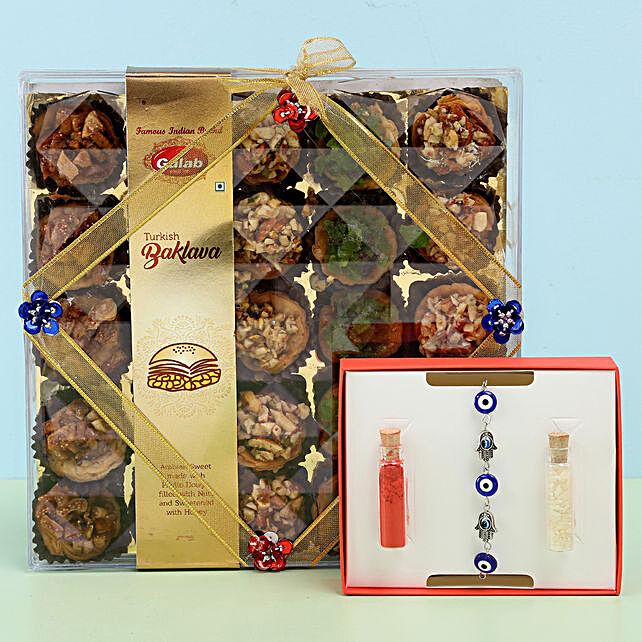 Assorted Turkish Baklava & Evil Eye Rakhi: Rakhi Gifts