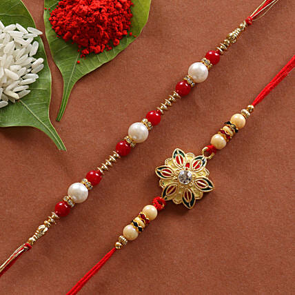 Dynamic Set of 2 Designer Rakhis: Rakhi Gifts
