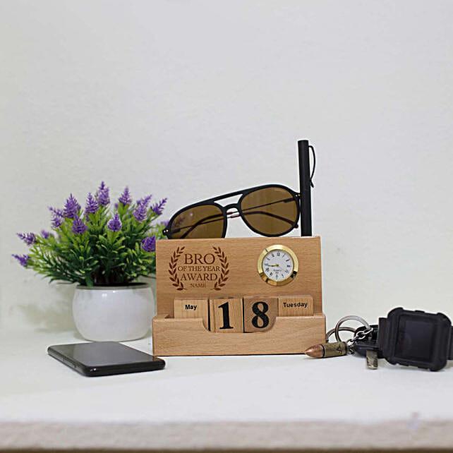 Personalised Desktop Wooden Calendar For Brother: Personalised Engraved