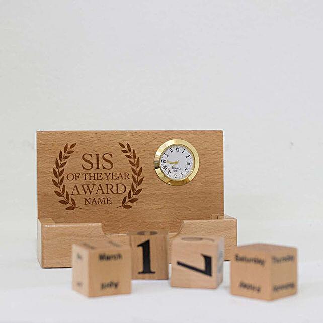 Personalised Desktop Wooden Calendar For Sister: Personalised Engraved
