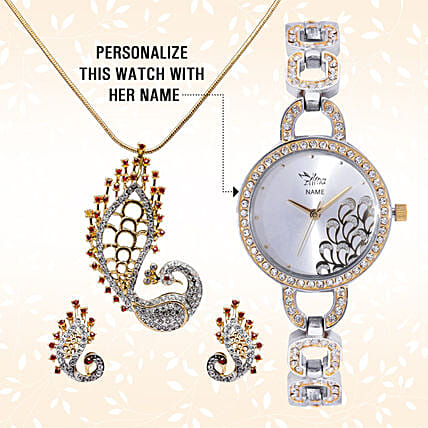 Personalised Watch & Designer Peacock Pendant Set: Send Jewellery Gifts