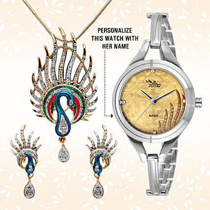 Personalised Watch & Designer Pendant Set: Jewellery Gifts