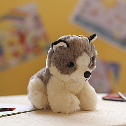 Adorable Grey & White Dog Soft Toy: Soft Toys Gifts