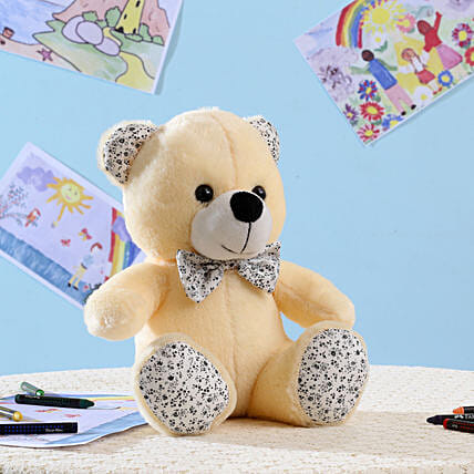 Beige Bear With Ribbon Soft Toy: Soft Toys Gifts