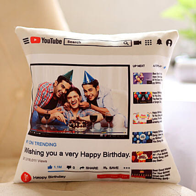 Personalised YouTube Birthday Cushion: Buy Cushions