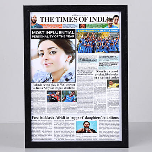 Newspaper Headline Personalised Black Frame: Personalised Photo Frames