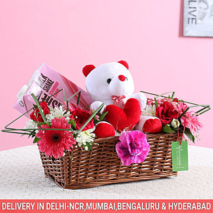 Floral Basket Of Goodies & Teddy Bear: Gourmet Gifts India