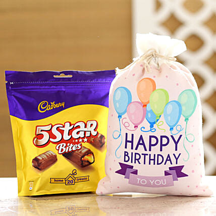 Cadbury 5 Star Pack & Birthday Gunny Bag: Chocolate Gifts in India