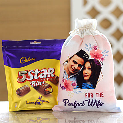 Cadbury 5 Star Pack & Personalised Gunny Bag For Wife: Chocolates Shopping India