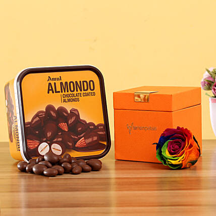 Forever Rainbow Rose & Amul Almondo: Flowers with Chocolates