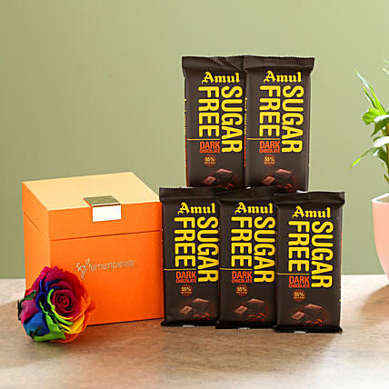 Forever Rainbow Rose & Sugar Free Amul Chocolates: Send Flowers and Chocolates