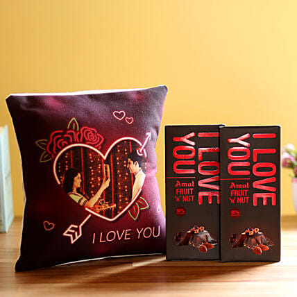 I Love You Cushion & Amul Chocolates Combo: Flower Delivery in Mahe