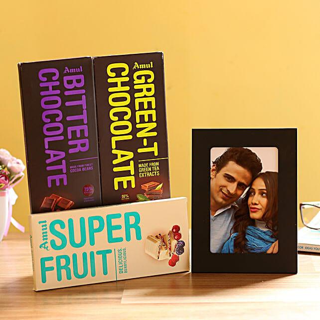 Personalised Photo Frame & Amul Chocolates:
