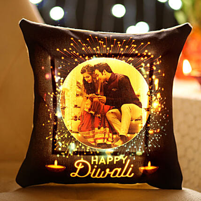 Personalised Diwali Wishes With LED Cushion: Diwali Gifts