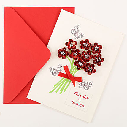 Thank You Red Bouquet Greeting Card: Gifts For Friendship Day