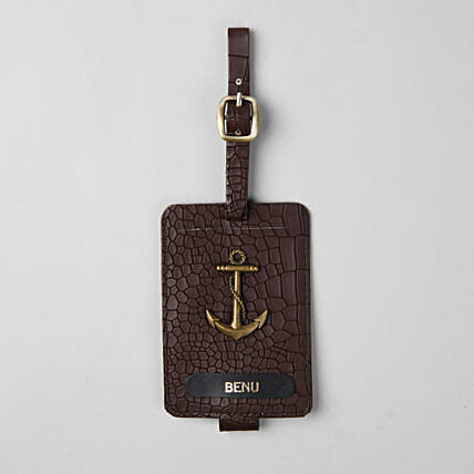 Personalised Croco Brown Luggage Tag: Personalised Accessories