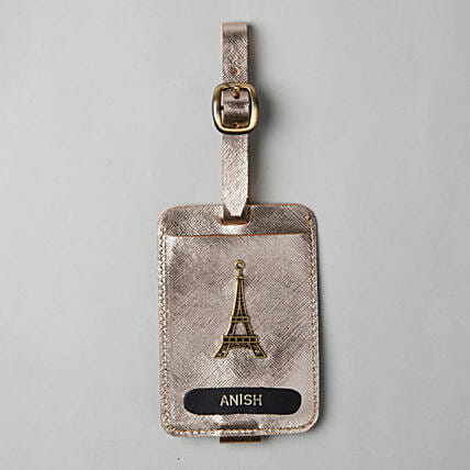 Personalised Metallic Gold Luggage Tag: Personalised Accessories