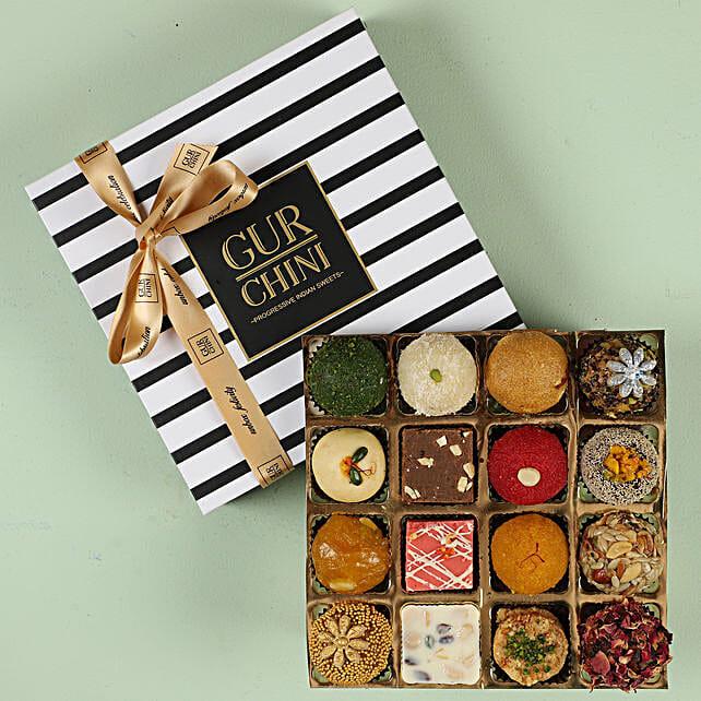 Delicious Mixed Mithai in Stripes Box- 16 Pcs: Gudi Padwa