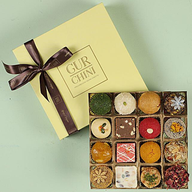 Assorted Exotic Mithai In Pastel Green Box- 16 Pcs: Gudi Padwa Gifts