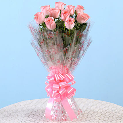 10 Charming Pink Roses Bouquet: Send Roses to Mumbai