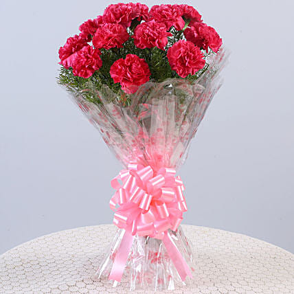 12 Glorious Pink Carnations Bouquet: Pink Flowers
