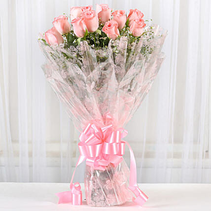 12 Splendid Pink Roses Bouquet: Valentines Day Flowers