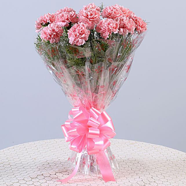 Unending Love-12 Light Pink Carnations Bouquet: