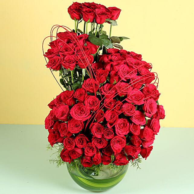 Red Elegance- 120 Red Roses Arrangement: Hug Day Gifts