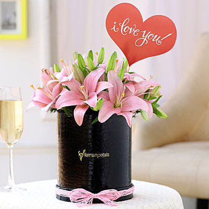 Love You Pink Asiatic Lilies Box:
