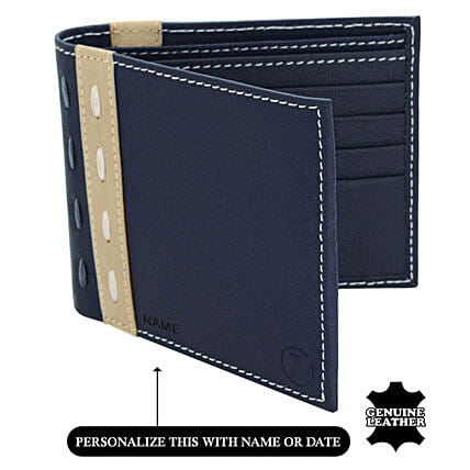 Men's Bi-Fold Blue & Beige Wallet: Fathers Day Gift Delivery