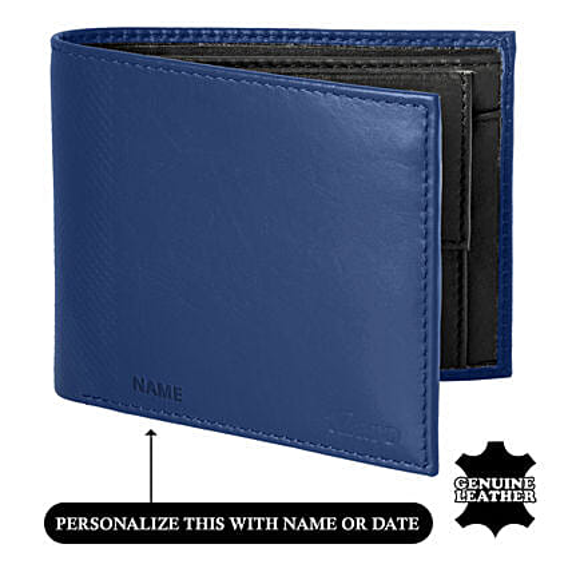 Men's Bi-Fold Blue & Black Wallet: Personalised Accessories