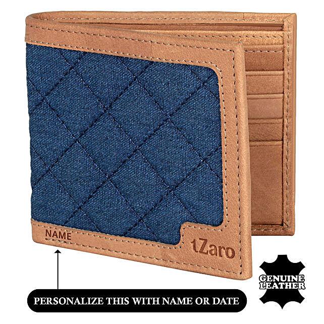 Men's Bi-Fold Blue & Chestnut Wallet: Personalised Accessories