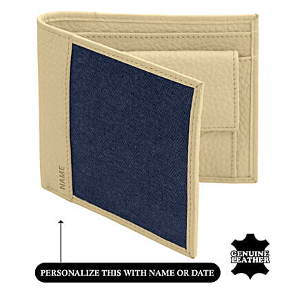 Men's Bi-Fold Blue & White Wallet: Personalised Leather Gifts