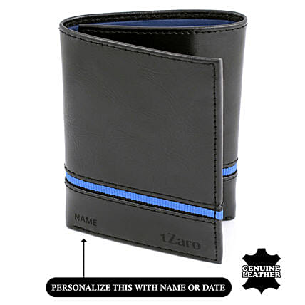 Men's Tri-Fold Black & Blue Wallet: