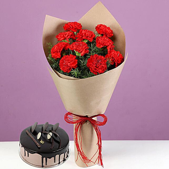 10 Red Carnations & Chocolate Cream Cake: