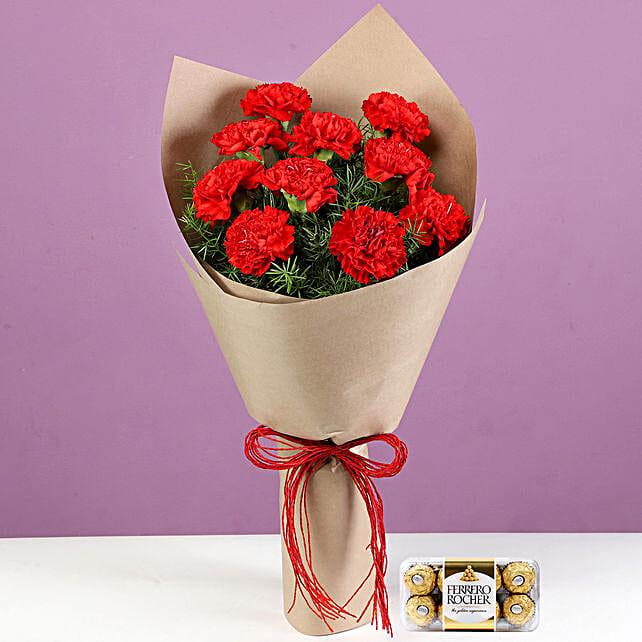 10 Red Carnations & Ferrero Rocher: Ferrero Rocher Chocolates