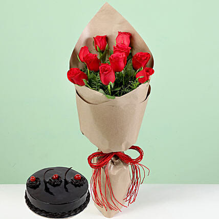 Bouquet Of Red Roses & Chocolate Truffle Cake: