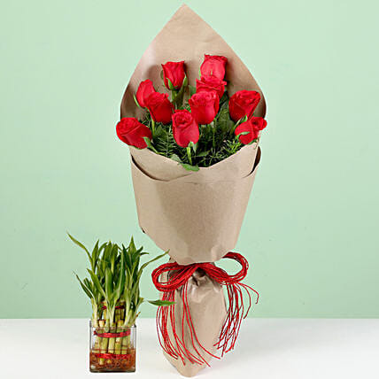 Bouquet Of Red Roses & Lucky Bamboo Combo: Plant Combos